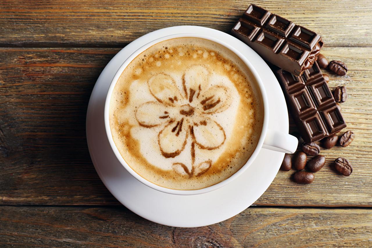 Фото Шоколад Кофе Капучино Зерна Чашка Продукты питания Доски Еда Пища