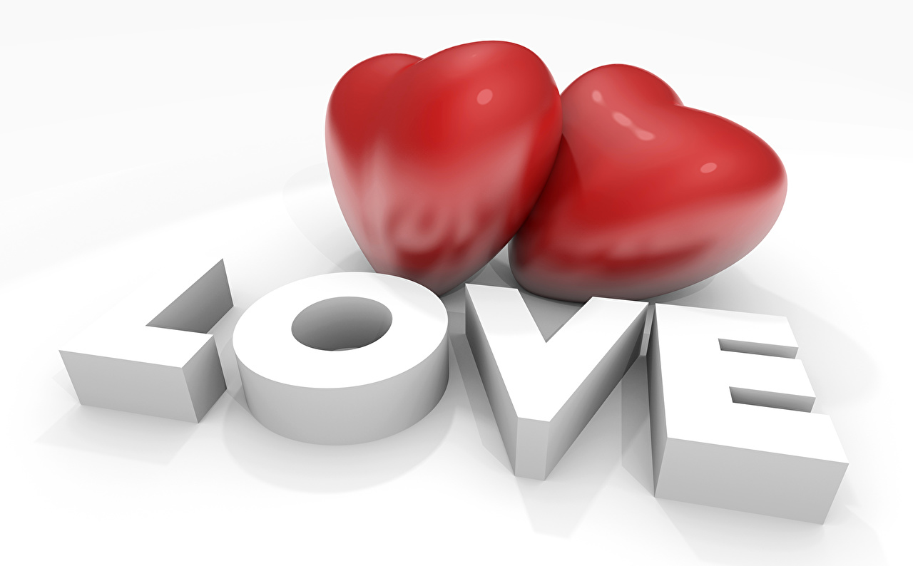 Картинки День всех влюблённых Сердце два 3D Графика День святого Валентина серце сердца сердечко 2 3д две Двое вдвоем