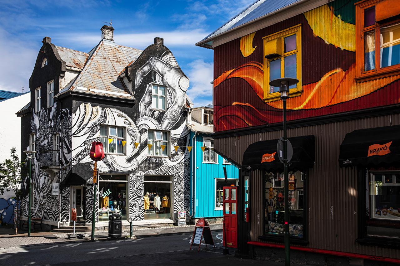 Фотографии Исландия Reykjavik Граффити Дома город Здания Города