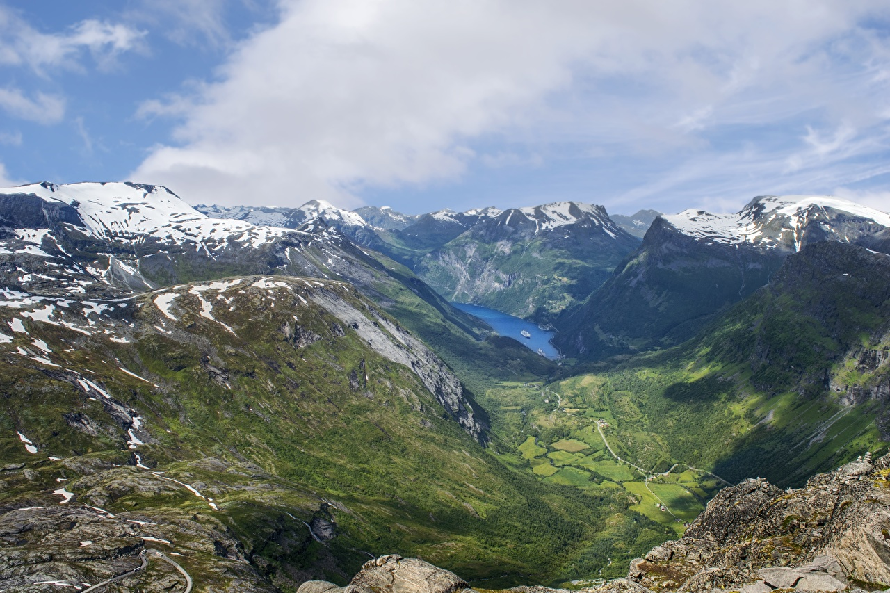 Обои Норвегия Fjord Горы Природа Снег Пейзаж Облака