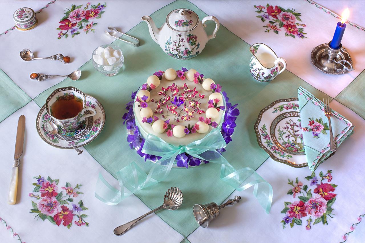 Картинки ножик Чай Сахар Торты Чайник Пища Ложка Чашка Свечи тарелке Сервировка дизайна Нож сахара Еда чашке ложки Тарелка Продукты питания накрытия стола Дизайн