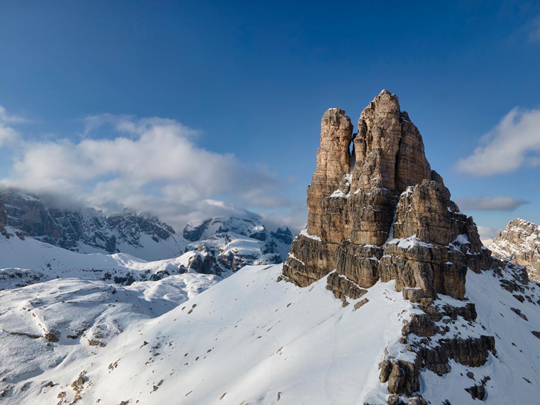 Фото Альпы Италия Dolomites Горы скалы Природа Снег альп гора Утес скале Скала снега снегу снеге
