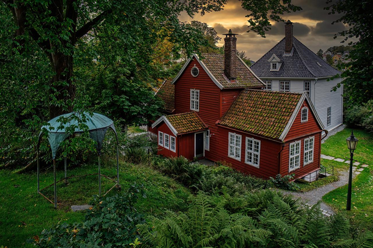 Обои для рабочего стола Норвегия Old Bergen Museum из дерева Уличные фонари Дома Города деревьев Деревянный город Здания дерево дерева Деревья