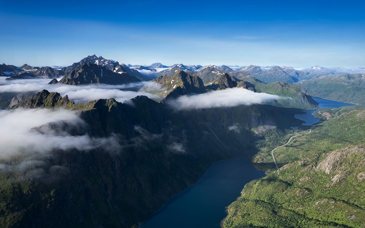Фотографии Лофотенские острова Норвегия Ingelsfjord Фьорд Горы Природа Сверху облачно гора Облака облако