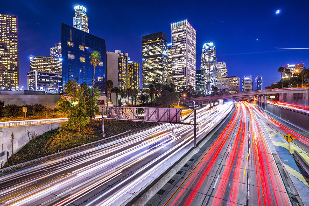 Картинки Лос-Анджелес штаты Дороги скорость Ночные Города Здания США едущий Движение Ночь Дома