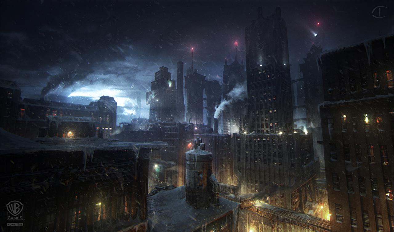 Обои для рабочего стола Batman Arkham Origins компьютерная игра Ночь Небоскребы Уличные фонари Дома город Игры ночью в ночи Ночные Здания Города
