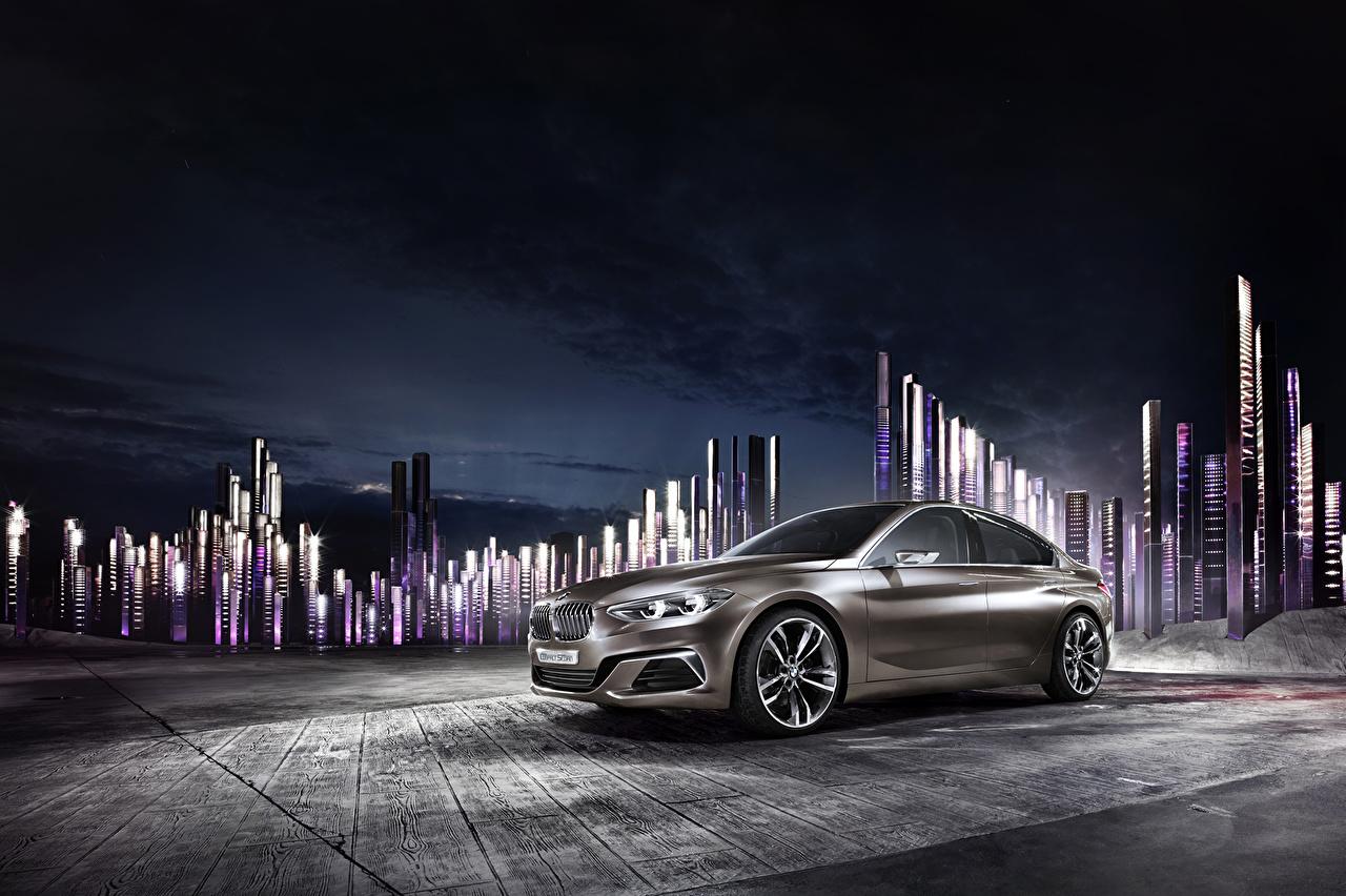 Картинка 2015 BMW Concept Compact Sedan Седан в ночи автомобиль БМВ Ночь авто ночью Ночные машины машина Автомобили