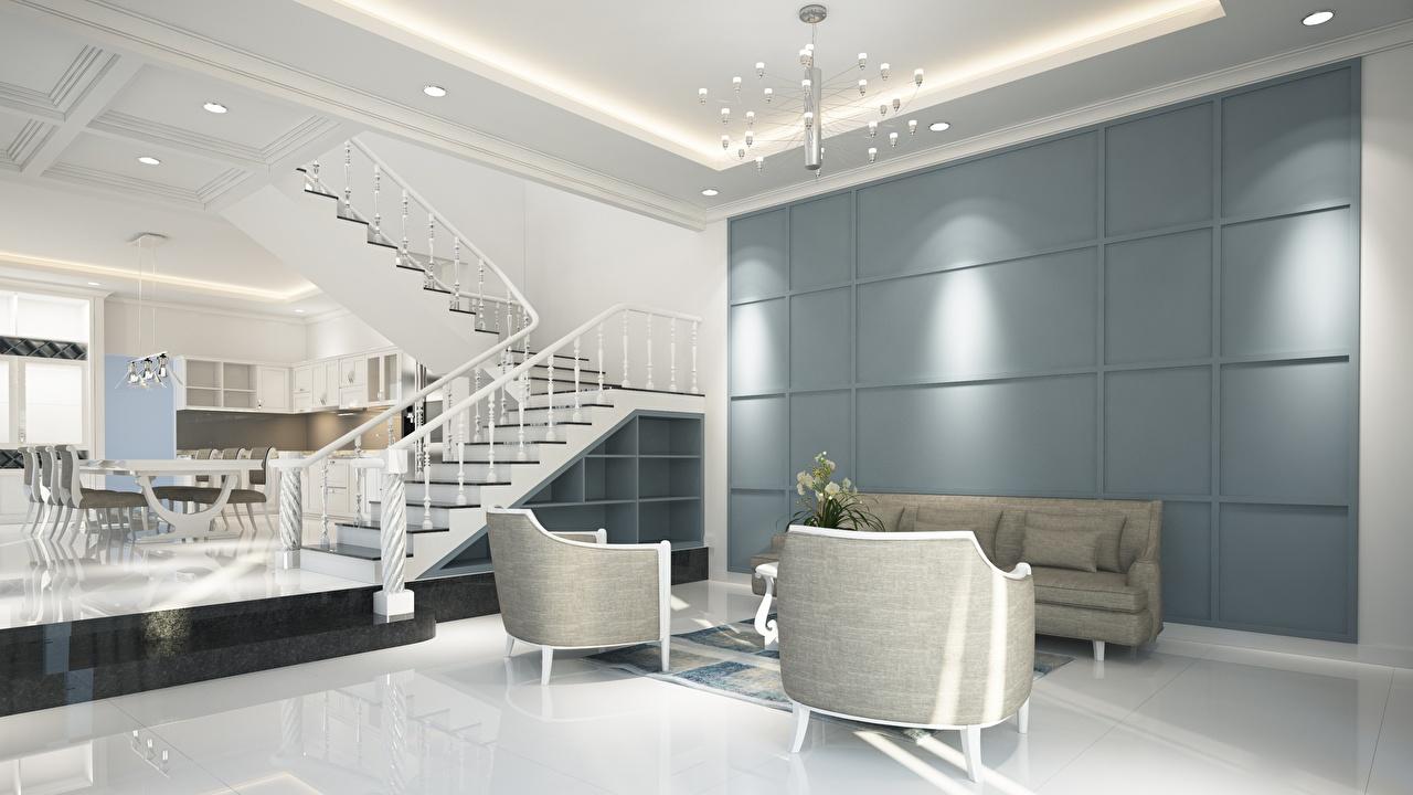 Картинка Гостиная лестницы Хай-тек стиль Интерьер Кресло Люстра гостевая Лестница люстры