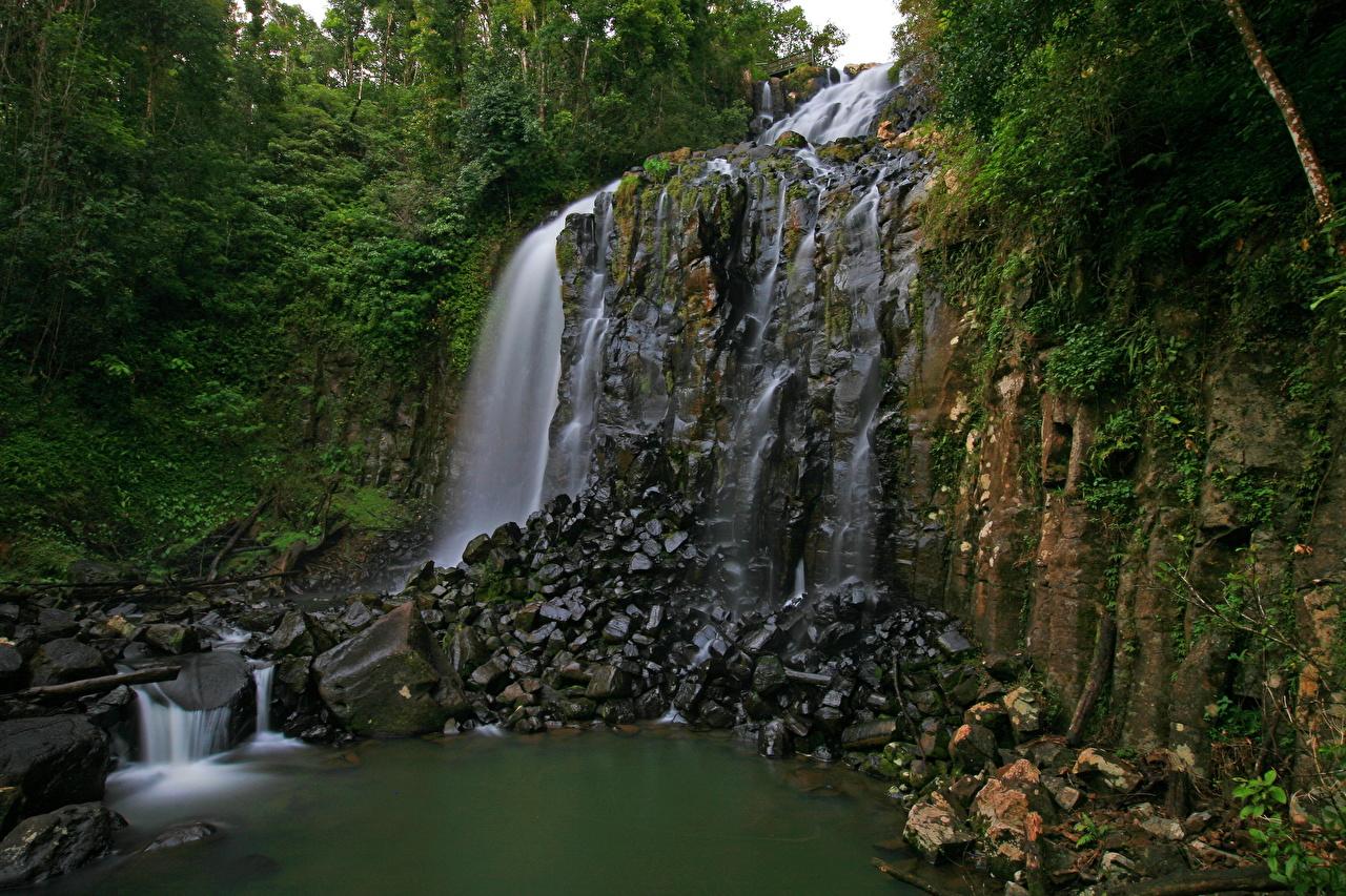 Фотография Австралия Queensland Природа Водопады Камни Камень