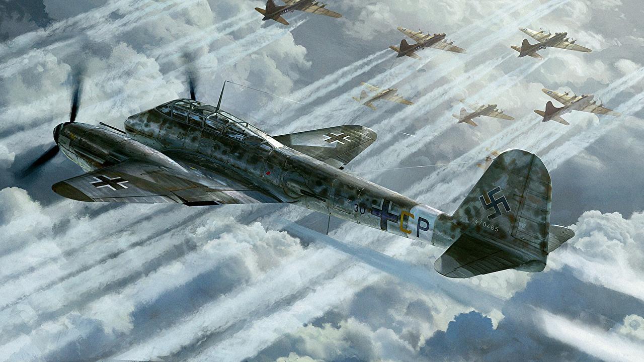 Картинка Самолеты Война Messerschmitt Me.410 Hornisse Рисованные Авиация