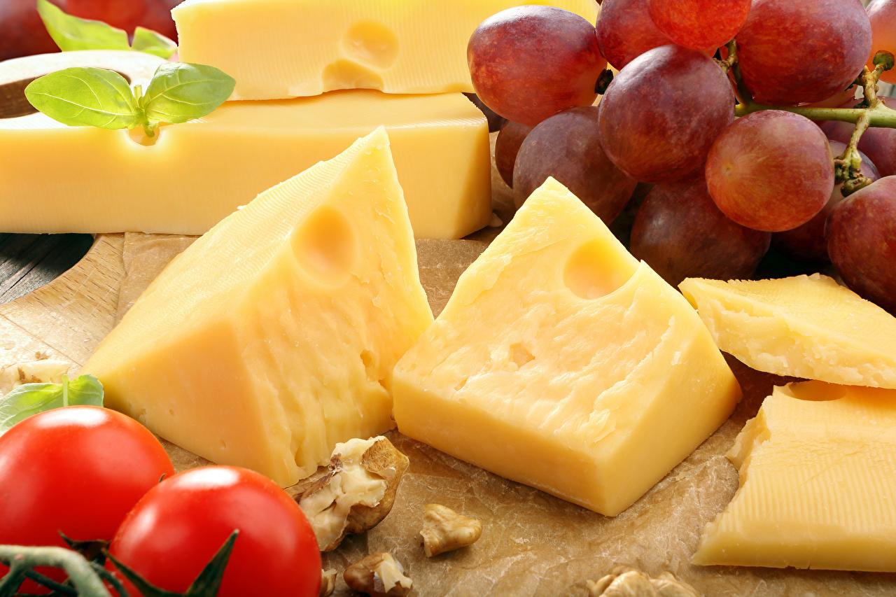 Картинка Сыры Виноград Еда Пища Продукты питания