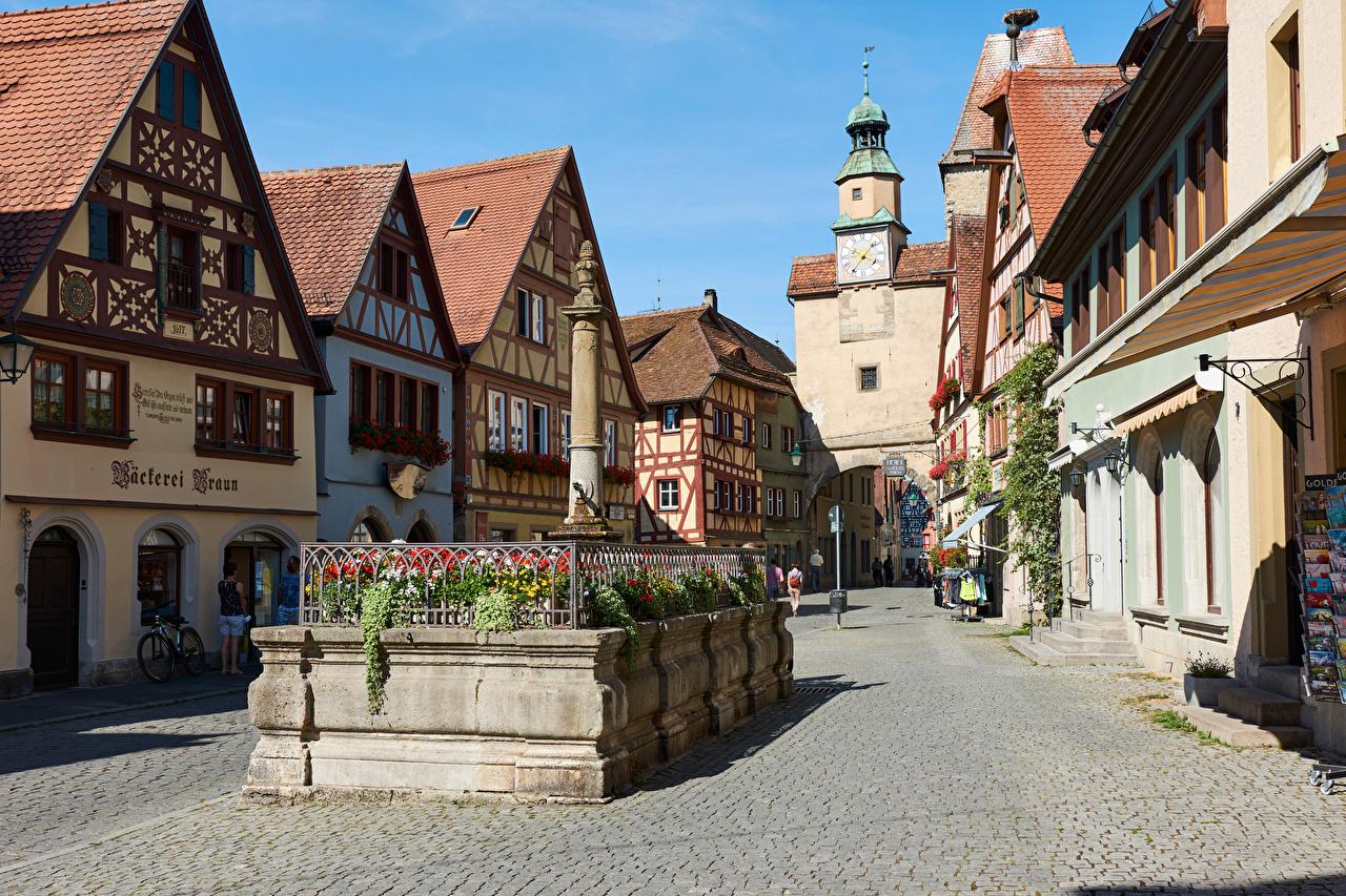 Обои для рабочего стола Бавария Германия Башня Rothenburg улиц город Здания башни улице Улица Дома Города