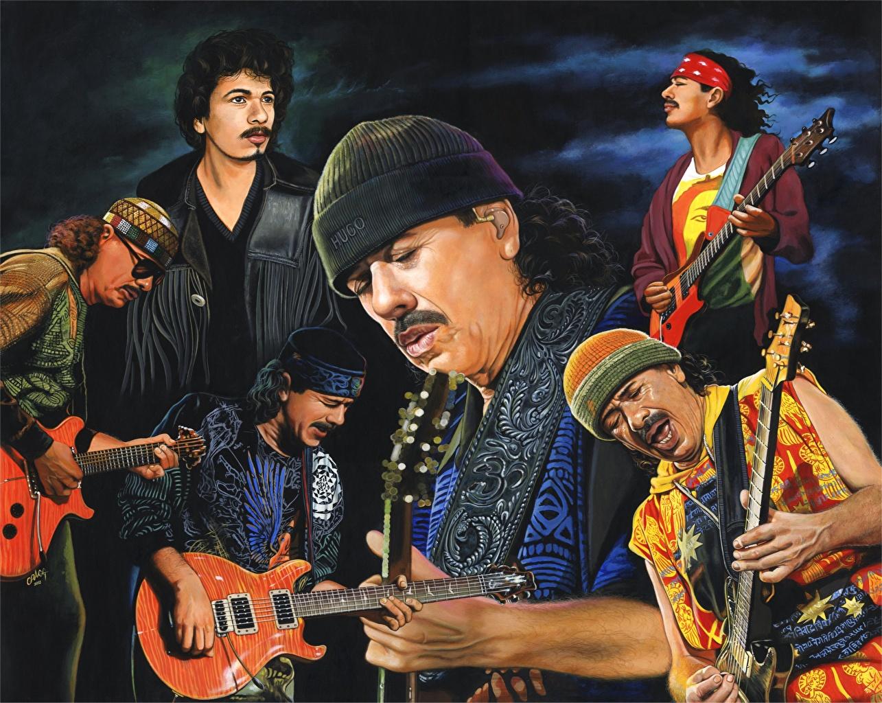 Мужчины Рисованные Santana Гитара Шапки Музыка
