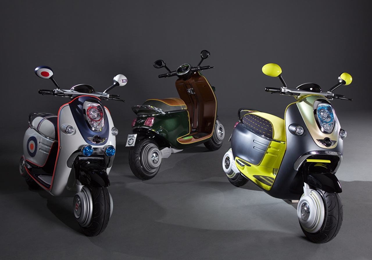 Картинка Мотороллер 2010 MINI Scooter E Concept мотоцикл Трое 3 Скутер Мотоциклы три втроем