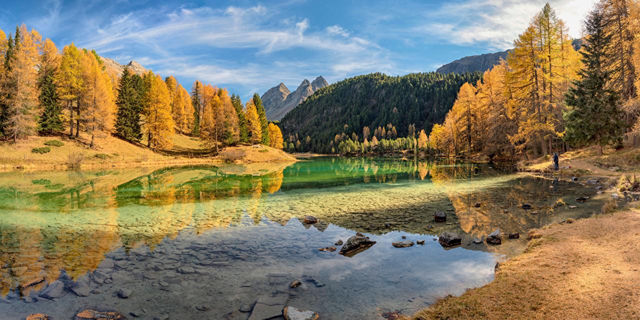 Обои для рабочего стола Швейцария Lake Palpuogna Горы Осень Природа Озеро дерево гора осенние дерева Деревья деревьев