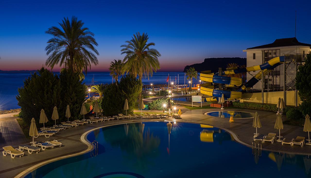 Фотографии Турция Курорты Плавательный бассейн Antalya пальм Вечер город Бассейны пальма Пальмы Города