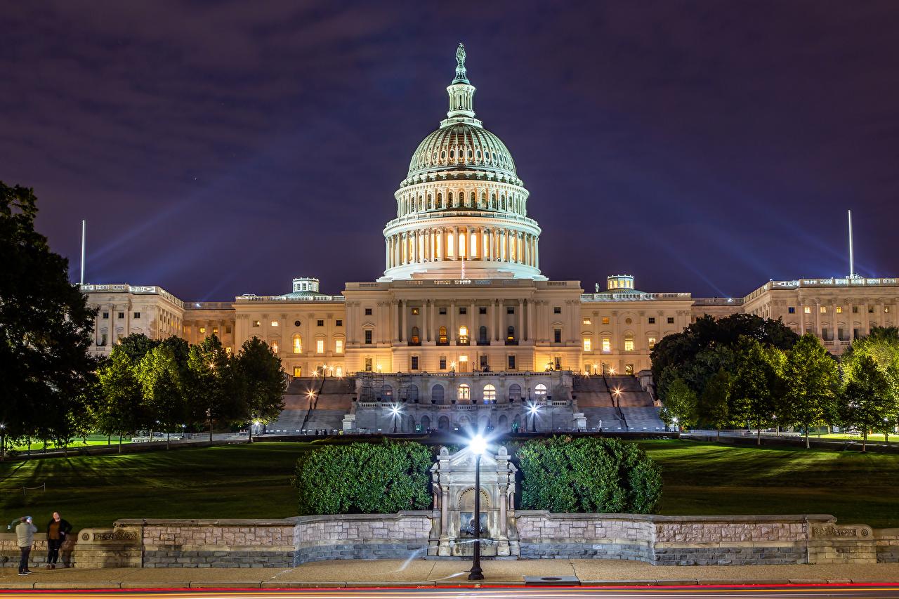 Картинка Вашингтон США Capitol Building Вечер Уличные фонари Дома город штаты америка Города Здания