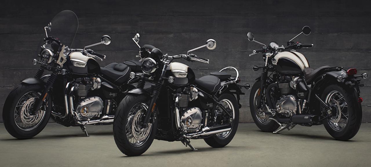 Картинки Triumph 2017 Bonneville Speedmaster черная мотоцикл втроем черных черные Черный Мотоциклы три Трое 3
