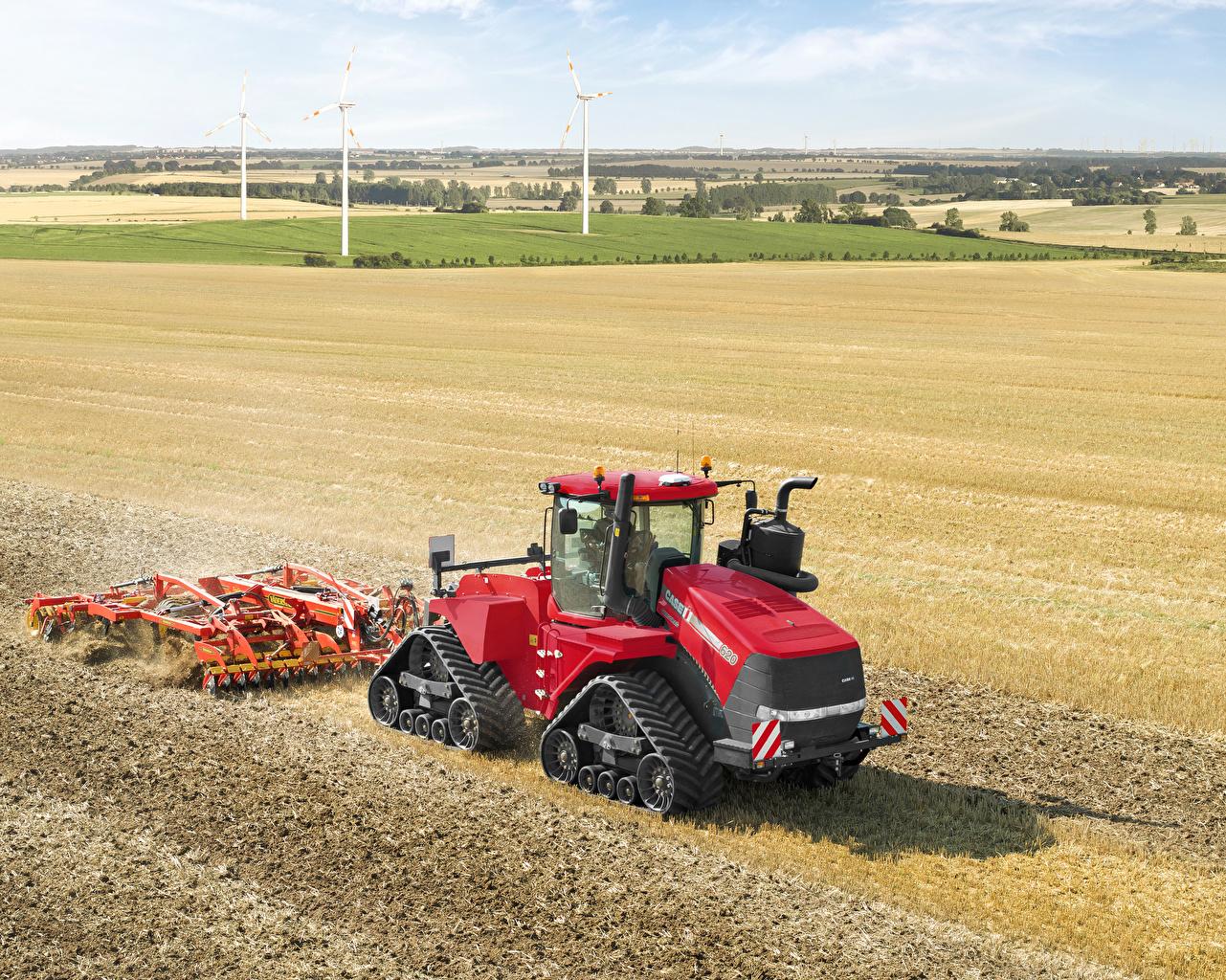 Обои Красный Сельскохозяйственная техника 2013-17 Case IH Quadtrac 620 Трактор Поля