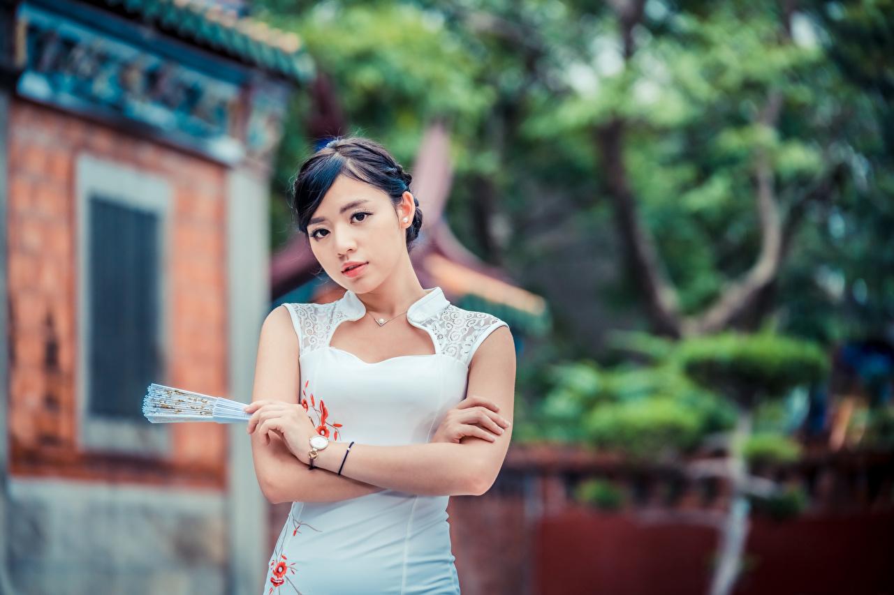 Фотография Размытый фон Веер молодая женщина Азиаты рука Взгляд Платье боке девушка Девушки молодые женщины азиатка азиатки Руки смотрят смотрит платья