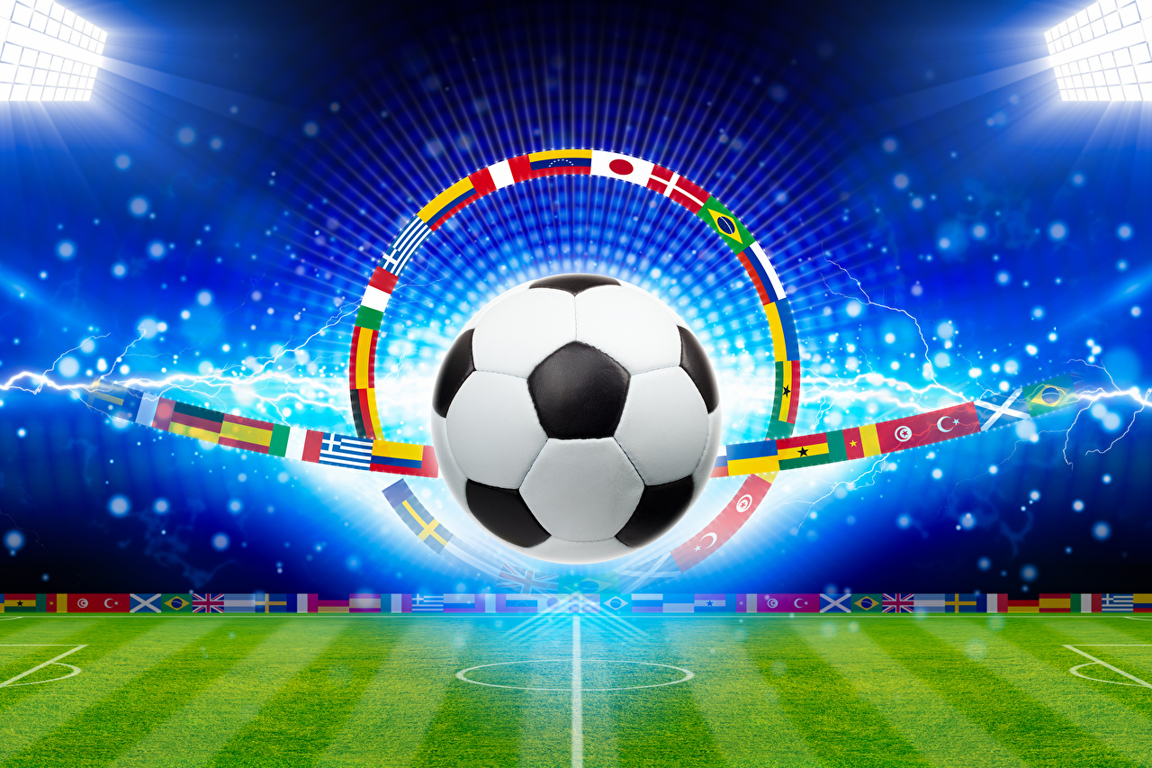 Фото Спорт Футбол Флаг Мяч Газон