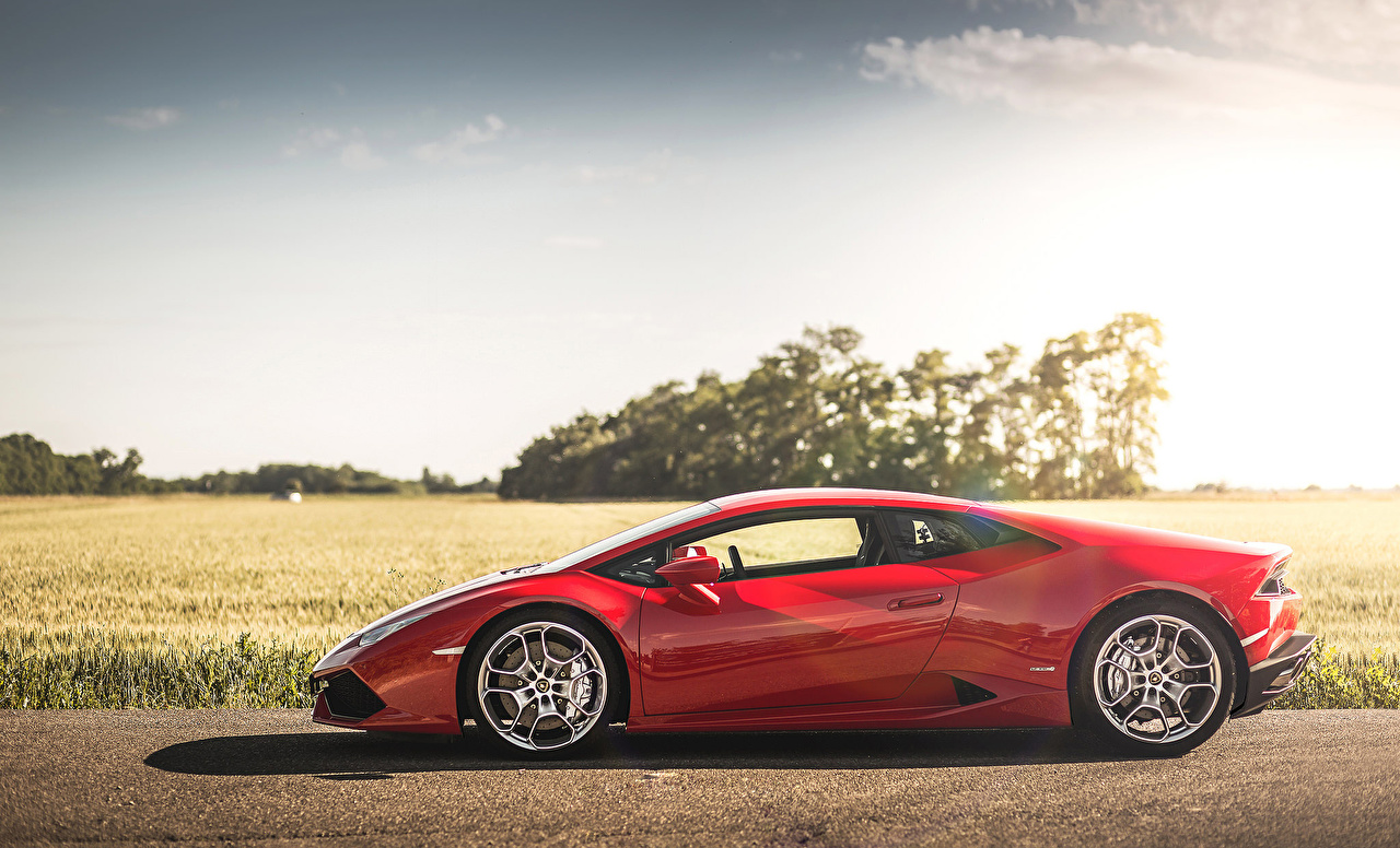 Обои для рабочего стола Lamborghini Huracán LP 610-4 роскошный красная Сбоку машина Ламборгини дорогие дорогой дорогая люксовые роскошная Роскошные красных красные Красный авто машины автомобиль Автомобили