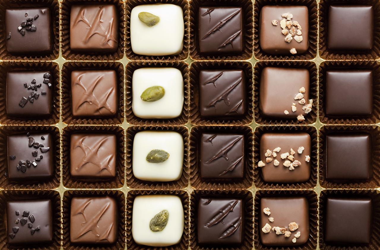 Фото Шоколад Конфеты Продукты питания Сладости Еда Пища