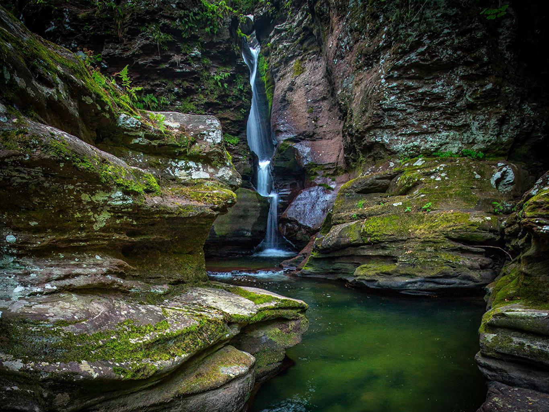 Фото штаты Ricketts Glen State Park Скала Природа Водопады Парки мха США америка Утес скалы скале парк Мох мхом