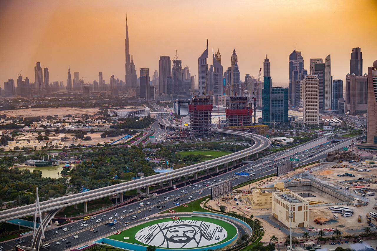 Фотография Дубай ОАЭ New Dubai парк Улица Сверху Небоскребы город Здания Объединённые Арабские Эмираты улиц Парки улице Дома Города