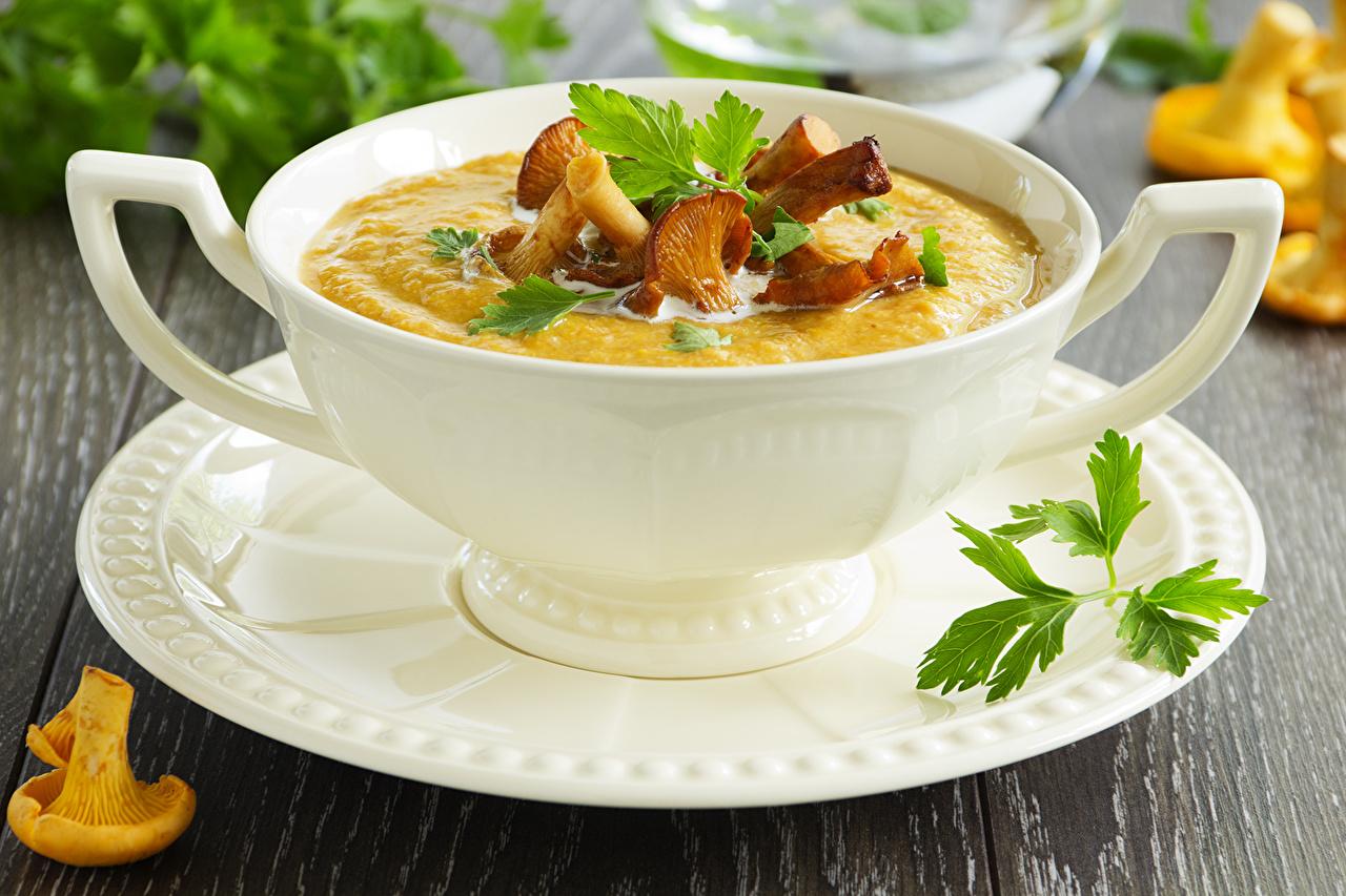 Фотография Грибы Супы чашке Тарелка Продукты питания Еда Пища Чашка тарелке