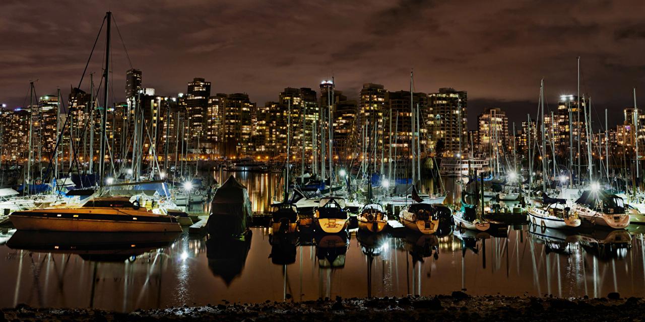 Обои Ванкувер Канада Залив Ночные Города Ночь