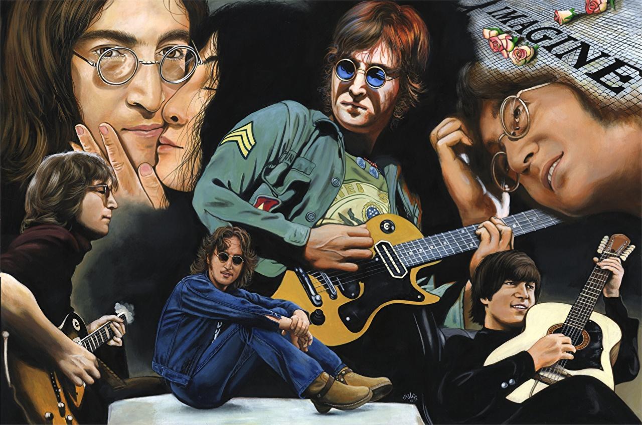 Рисованные John Lennon Гитара Очки Музыка