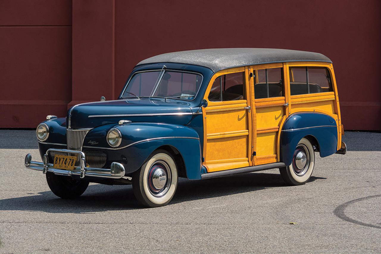Обои для рабочего стола Форд 1941 V8 Super Deluxe Station Wagon винтаж авто Металлик Ford Ретро старинные машина машины автомобиль Автомобили