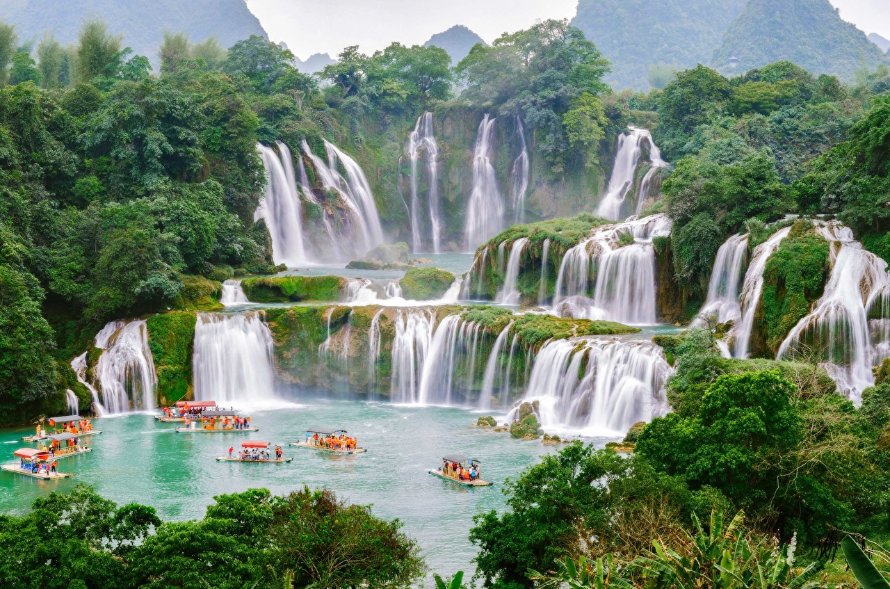 Картинка Китай Вьетнам Detian, Chungking Природа Водопады Лодки