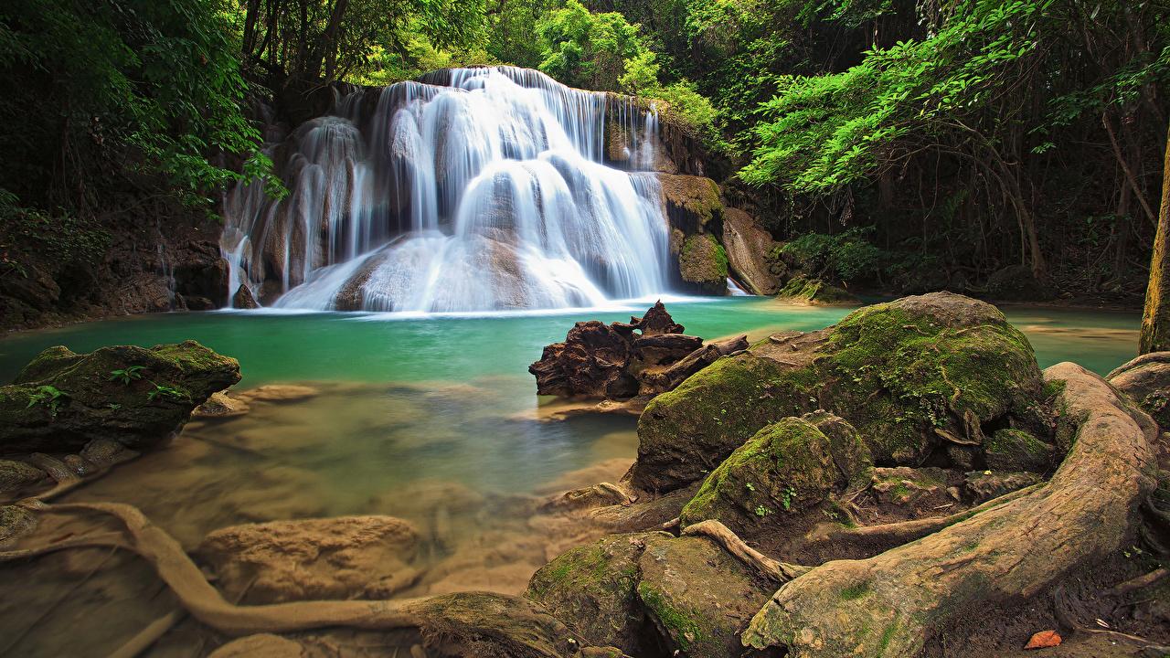 Картинка Таиланд скале Природа Водопады Парки тропический мха Камень Утес Скала скалы парк Тропики Мох мхом Камни