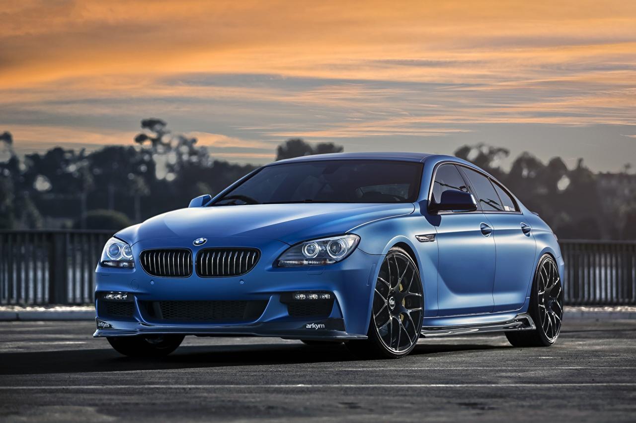 Картинка BMW Matte 640i Синий Автомобили БМВ синих синие синяя авто машина машины автомобиль