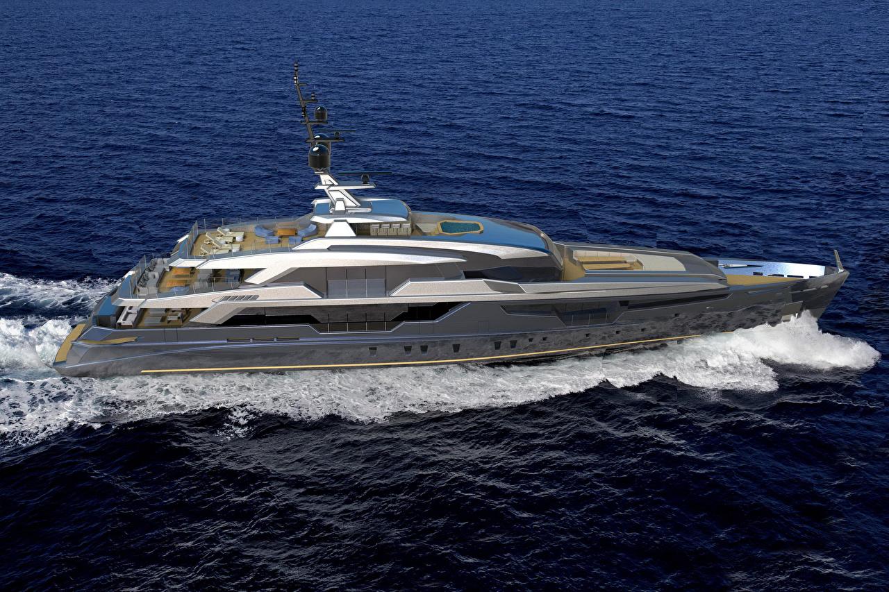 Фотографии Море скорость Яхта едет едущий едущая Движение