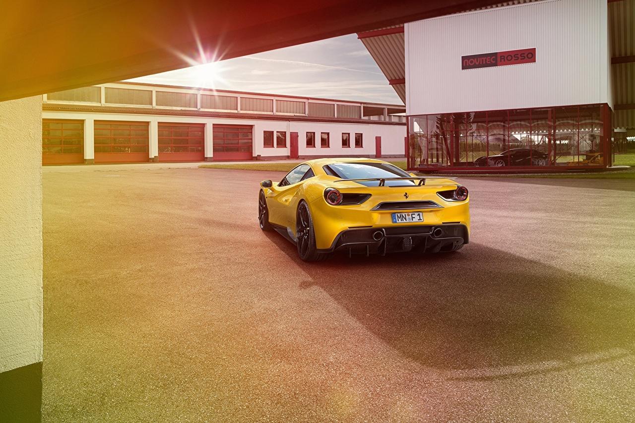 Картинка Феррари Novitec Rosso 488 GTB желтых Сзади Автомобили Ferrari Желтый желтые желтая авто машина машины вид сзади автомобиль