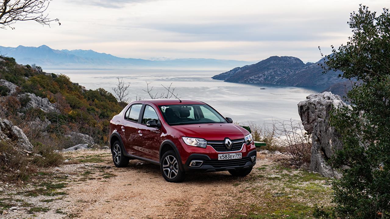 Фотографии Renault 2018-19 Logan Stepway City Бордовый авто Рено бордовая бордовые темно красный машина машины автомобиль Автомобили