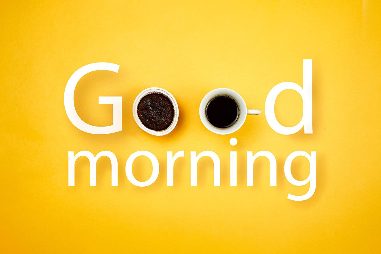 Обои для рабочего стола Английский good morning Кофе текст Пища Чашка Цветной фон английская инглийские слова Слово - Надпись Еда чашке Продукты питания