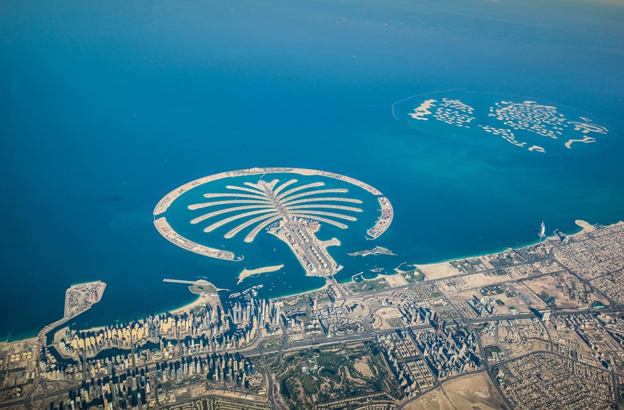 Картинки Дубай Palm Jumeirah Остров Сверху Города город
