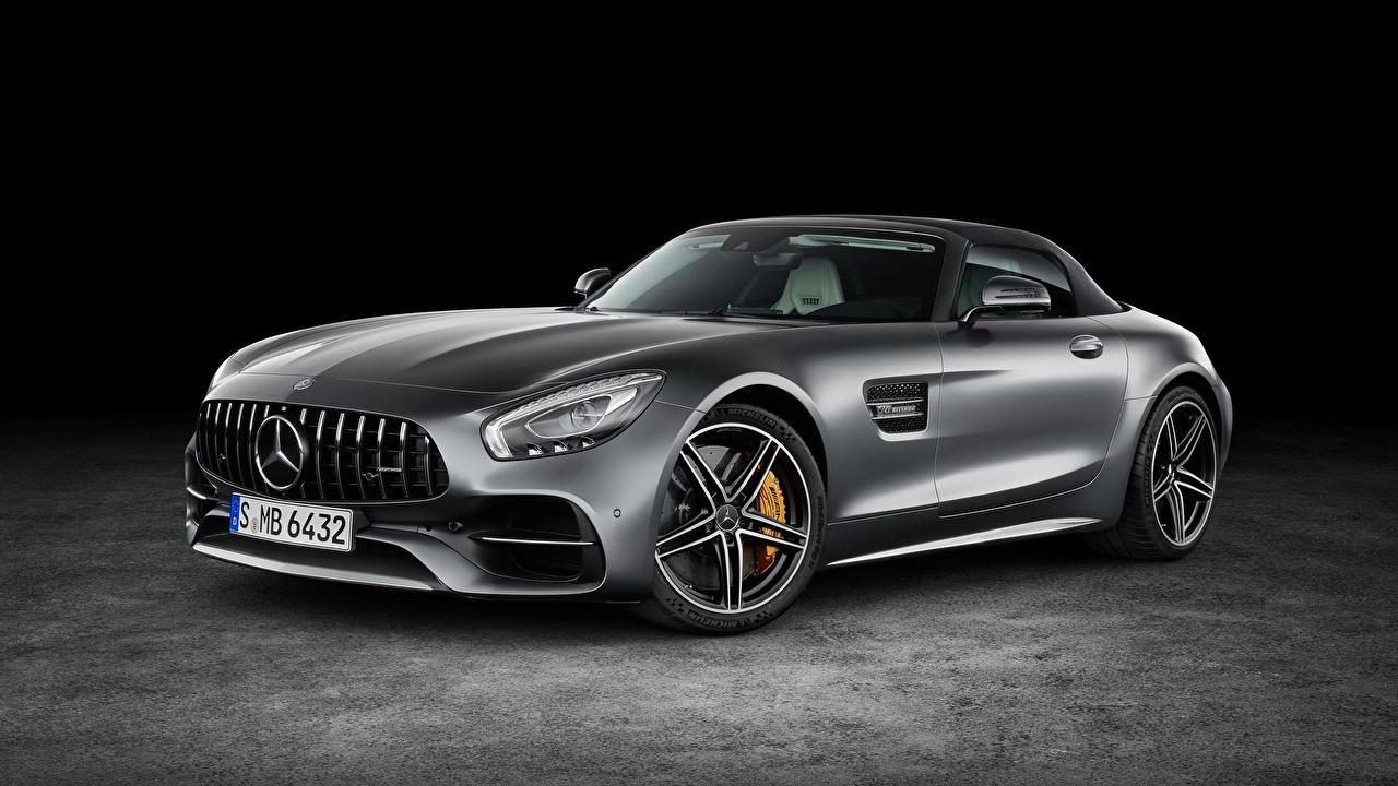 Картинка Mercedes-Benz AMG GT серая машина Металлик Мерседес бенц серые Серый авто машины автомобиль Автомобили