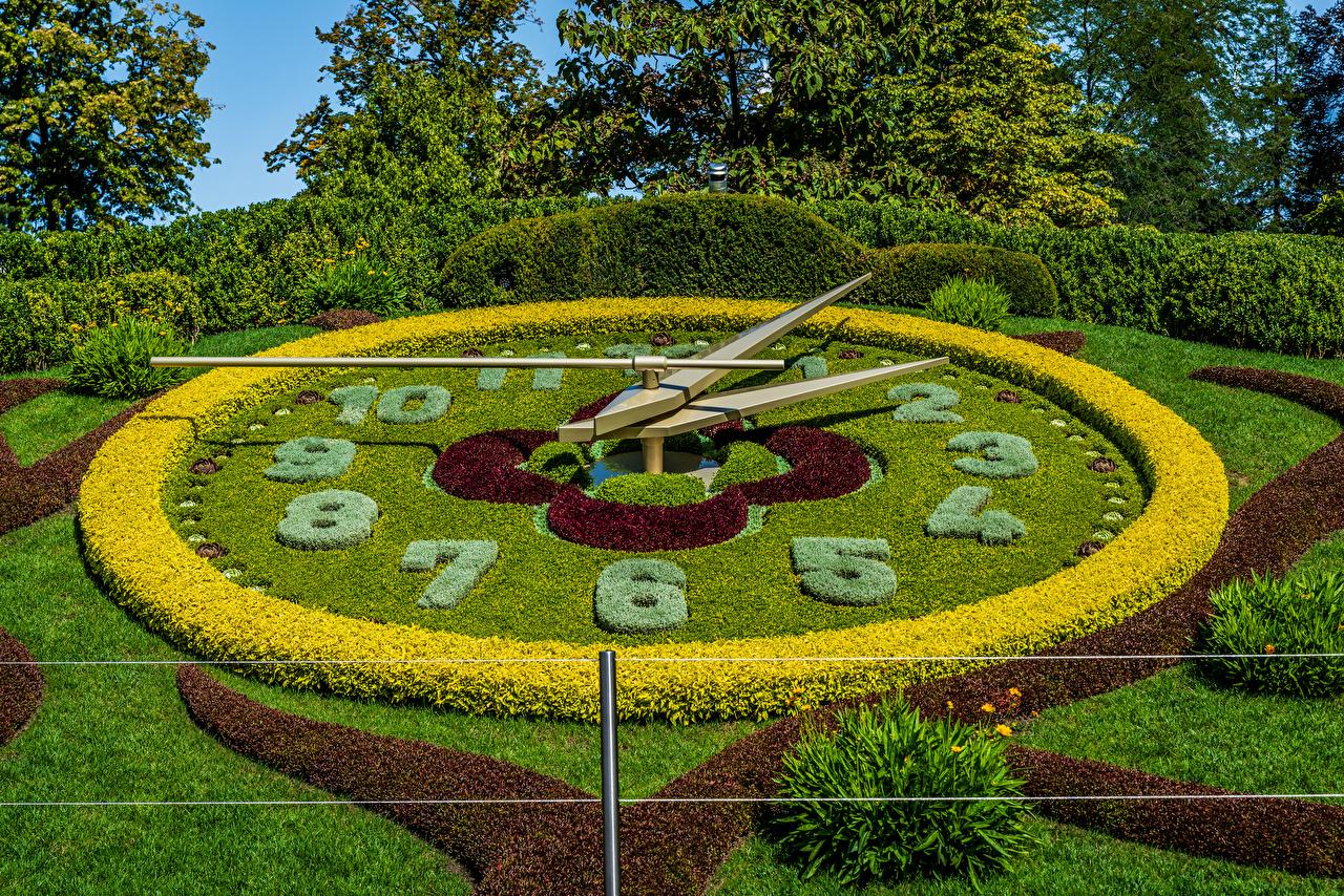 Обои для рабочего стола Швейцария Geneva Часы Природа Парки Газон Кусты дизайна парк газоне кустов Дизайн