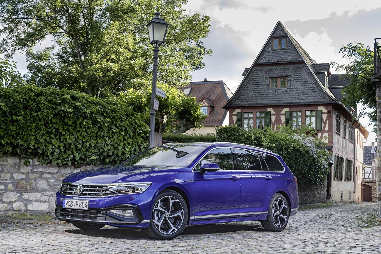 Фотография Volkswagen Универсал 2019 Passat R-Line Variant Worldwide синих машины Металлик Фольксваген Синий синие синяя авто машина автомобиль Автомобили