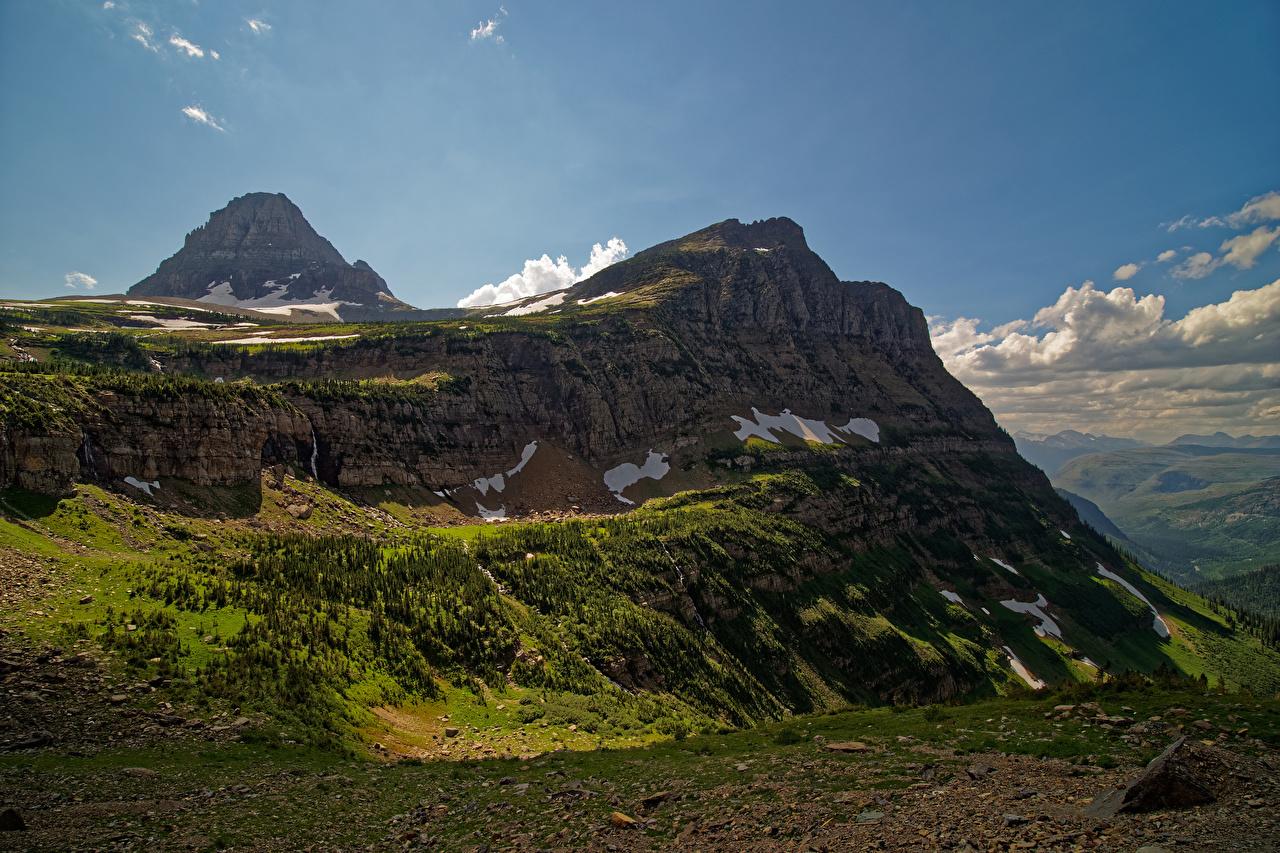 Фотографии США Glacier National Park скалы Природа Парки Холмы штаты америка Утес скале Скала парк холм холмов