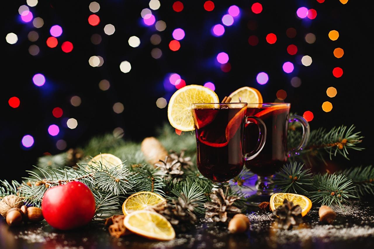 Картинка Рождество Пища Ветки бокал Напитки Новый год Еда ветка ветвь Бокалы на ветке Продукты питания напиток