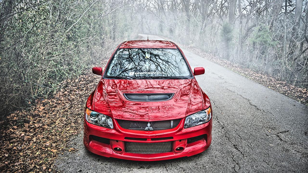 Фото Мицубиси Lancer Evolution IX HDR Красный Металлик Автомобили Mitsubishi HDRI красная красные красных авто машины машина автомобиль