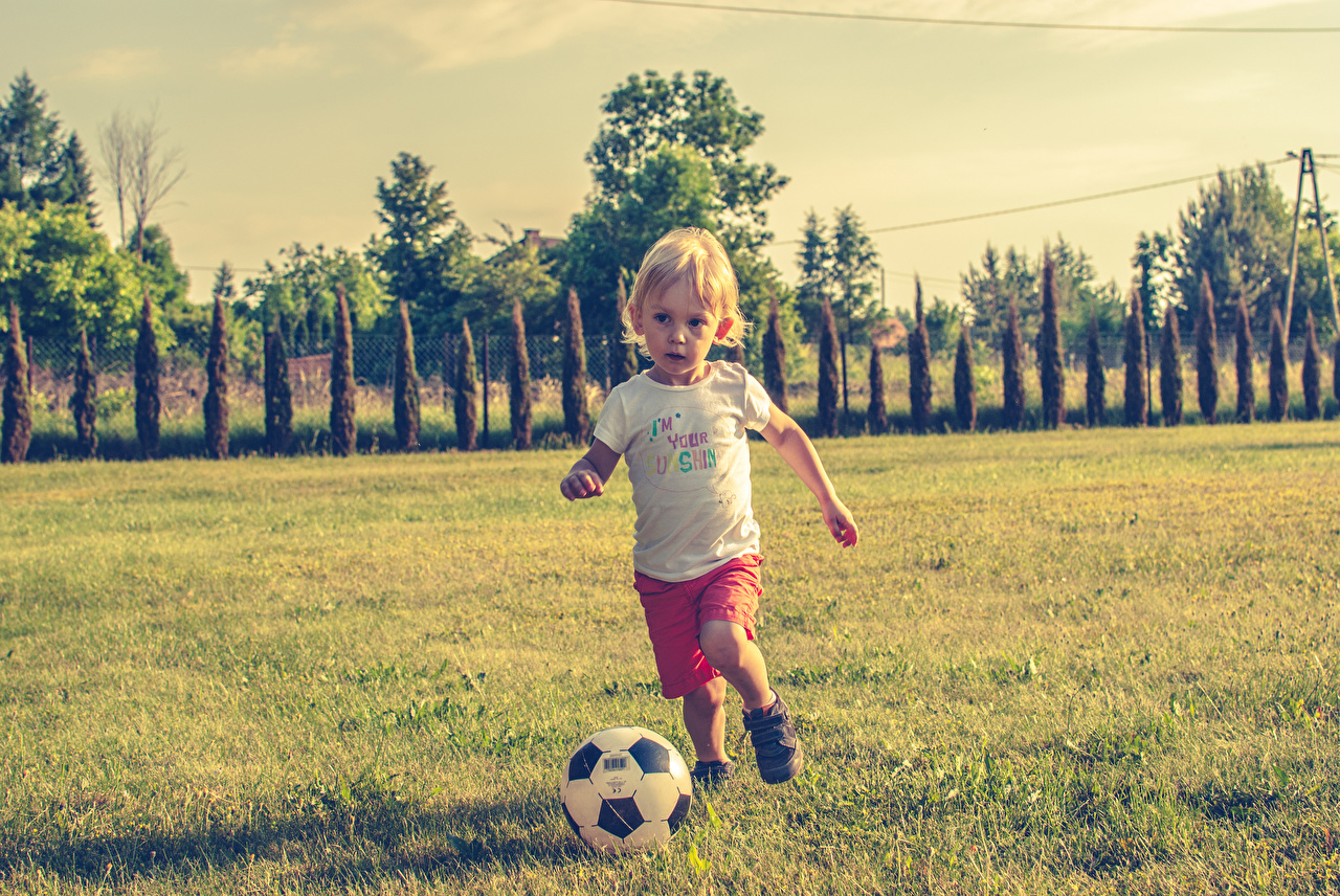Картинка Мальчики Ребёнок Футбол Мяч Трава Дети