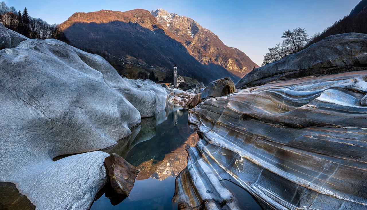 Фотография Церковь Альпы Швейцария Lavertezzo Горы Скала Природа альп гора Утес скале скалы