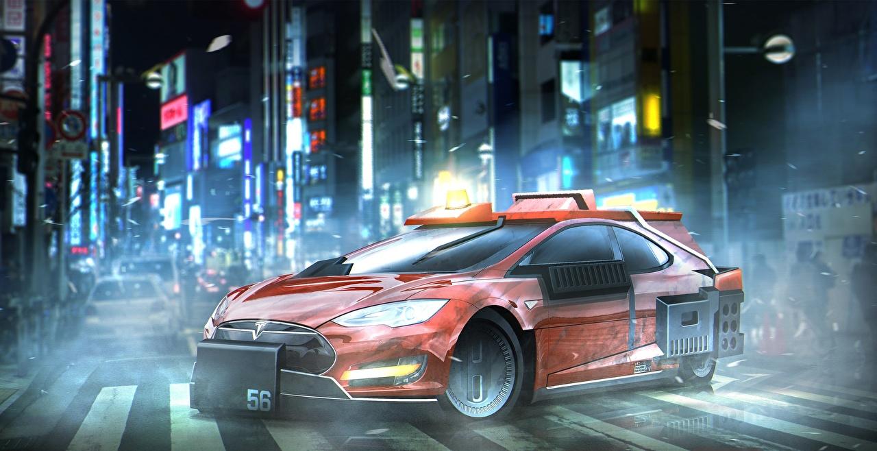 Картинки Бегущий по лезвию 2049 Tesla Model S Красный Фильмы Кино